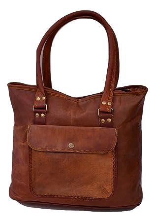 "f4b4bb86862d8 Handmade 17"" Women Vintage Style Genuine Brown Leather Tote Shoulder  Shoppers Bag Handmade Purse"