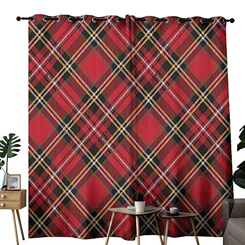 (Warm Curtain Retro Diagonal Traditional Vintage Scottish Tartan Pattern Striped Checkered Geometric Tile Multicolor Tie Up Window Drapes Living Room W96 xL72 )