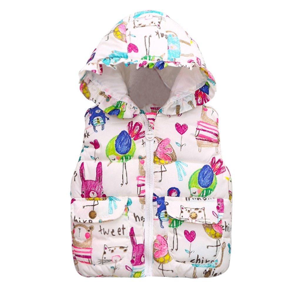 EFINNY Toddler Baby Girls Winter Windproof Outwear Hooded Gilet Jacket Coat Vest