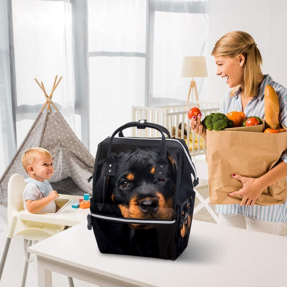 grande para pa/ñales Mochila multifunci/ón dise/ño de cachorro Rottweiler bolsa de pa/ñales de viaje para mam/á y pap/á