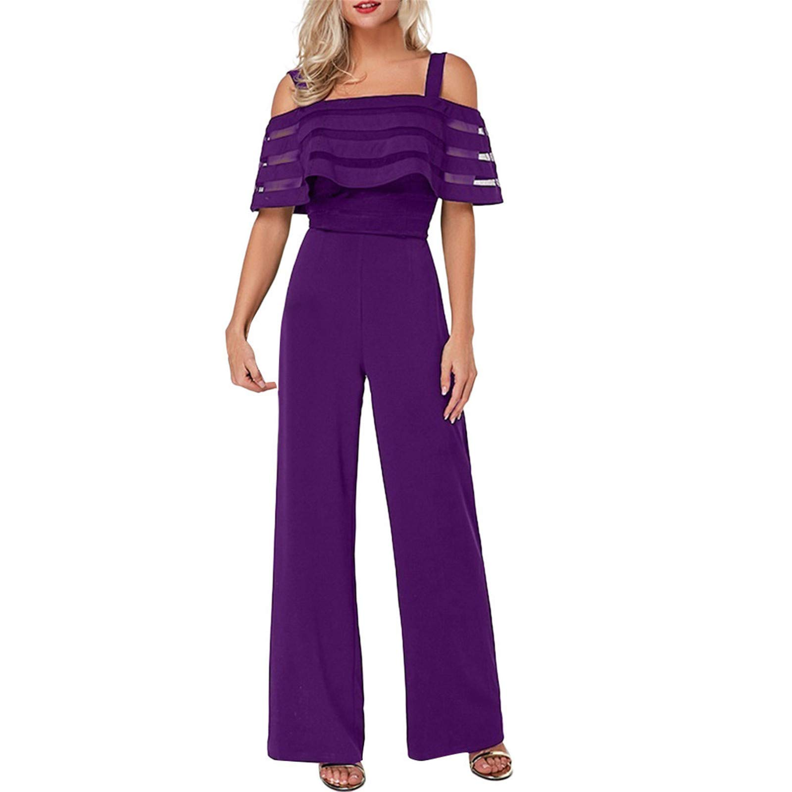 Thenxin Lady's Elegant Jumpsuit Cold Shoulder High Waist Wide Leg Long Pants Playsuit Romper(Purple,S