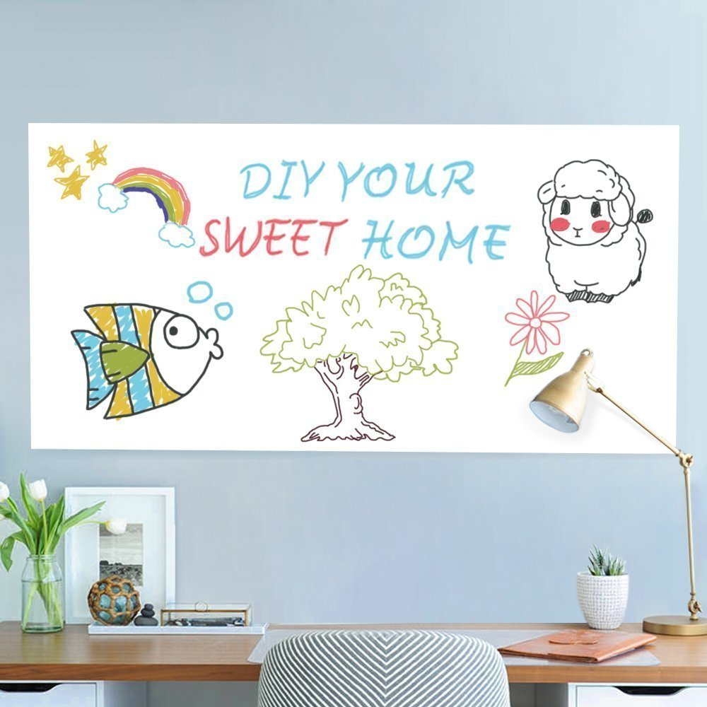 Dry Erase Wall Decal, UnityStar Whiteboard Sticker Extra Large Contact Paper with 3 Water-Based Pens for Home Office School Restaurant Menu, 17.7'' X 78.7'', White by UnityStar (Image #7)
