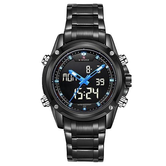 0fa83dc88acb Naviforce marca Sport Full Militar del Ejército de acero digital LED reloj  de pulsera (Azul