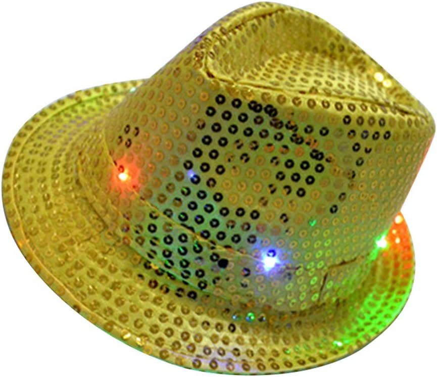 LED Light Up Blinking Flashing Sequin Jazz Cap Party Dancing Hat Party Stylish