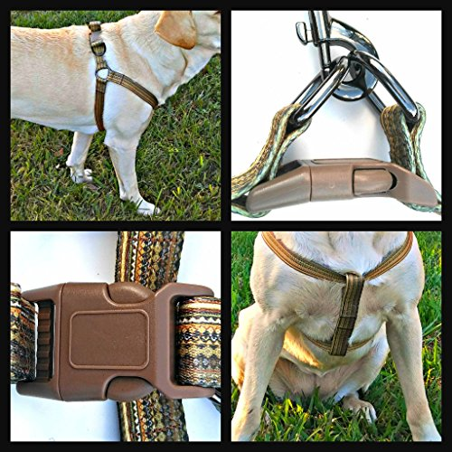 Boho Beige Dog Harness & Leash Matching SET Size Large(50 to 70 lbs)Adjustable,DURABLE NONFADING material,Double D-rings for balance & support,quick release coordinating buckles,Does not pressure neck