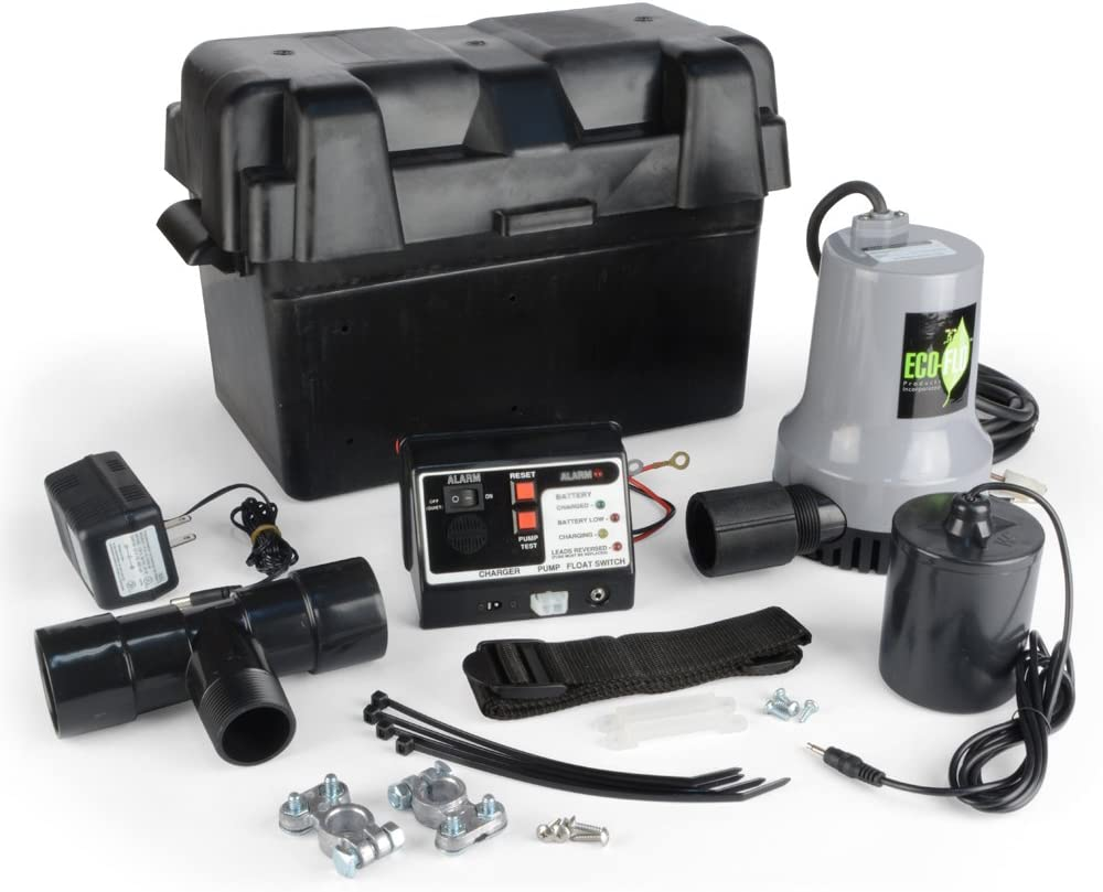 2,700 GPH ECO-FLO Products EBBS Emergency Battery Backup Sump Pump System 1//4 HP