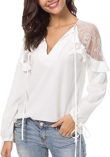 Blusas De Mujer Elegantes Camisa De Gasa Encaje Niñas Ropa Manga Larga V Cuello Volantes Color Solido Moda Casual Tops Camisas: Amazon.es: Ropa y accesorios
