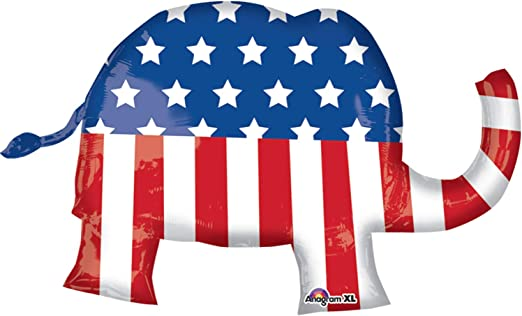 Set of Three Republican Party Patriotic Red White and Blue Elephant Balloons