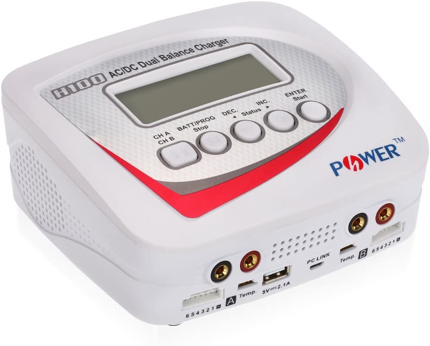 JIMI H-POWER HP2003 H100 AC//DC Dual 100W 10A Balance Charger//Discharger for LiPo LiFe Lilon LiHV NiCd NiMh Pb RC Battery