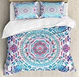 Purple and Turquoise Duvet Cover Ambesonne Mandala Duvet Cover Set Queen Size, Medallion Design Floral Patterns and Leaves Boho Hippie Style Prints, Decorative 3 Piece Bedding Set with 2 Pillow Shams, Turquoise Pink and Purple