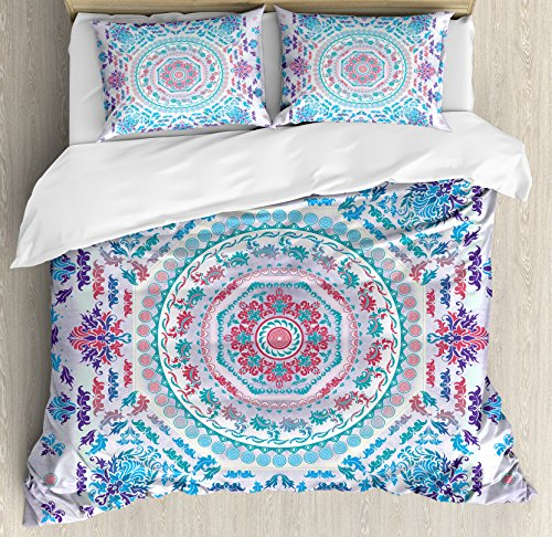 (Ambesonne Mandala Duvet Cover Set King Size, Medallion Design Floral Patterns and Leaves Boho Hippie Style Prints, Decorative 3 Piece Bedding Set with 2 Pillow Shams, Turquoise Pink and Purple)
