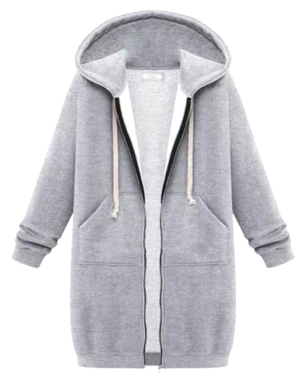 ARRIVE GUIDE Womens Zip Up Drawstring Kangaroo Pocket Long Hooded Sweatshirt