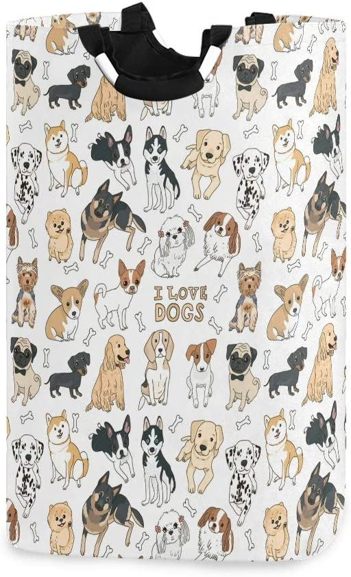 Doodle Dog Pug Corgi Golden Retriever Husky Labrador Dachshund Large Laundry Hamper Bag Collapsible with Handles Waterproof Durable Clothes Round Washing Bin Dirty Baskets Organization for Home Bathro