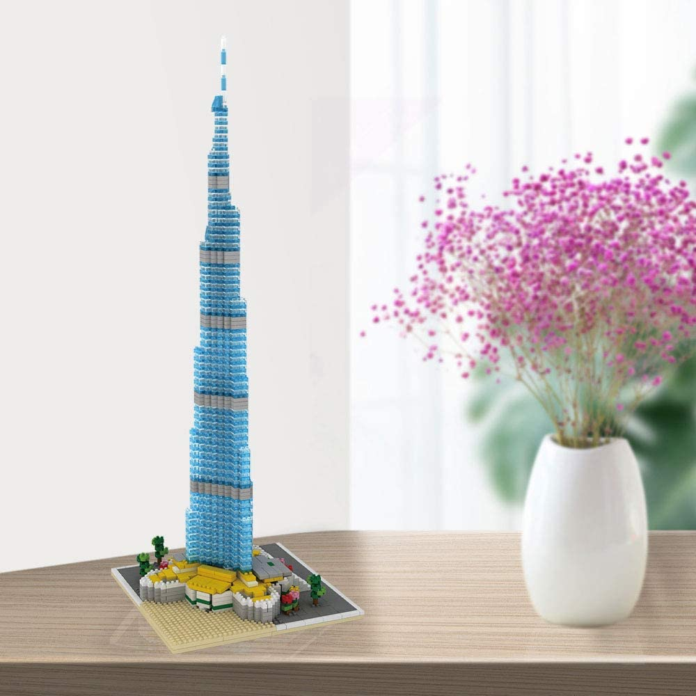 dOvOb Architecture Burj Khalifa Micro Blocks Set 1681 Pieces Mini Bricks Dubai Landmarks 3D Puzzle Toy Gift for Adults and Kids