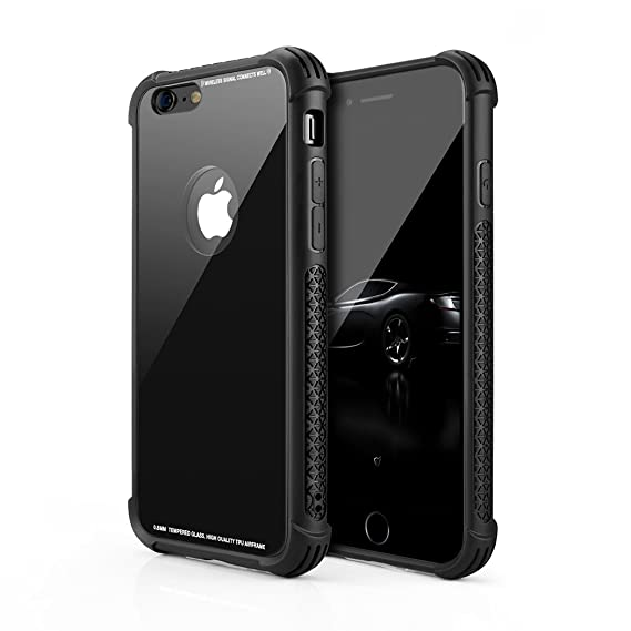 huge discount 7e9d0 7dff5 Besiva Phone Case Compatible iPhone 6,iPhone 6S, Tempered Glass Back Cover  and Soft Silicone Rubber Bumper Frame Shock Absorption Anti-Scratch ...