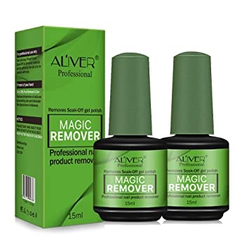 Amazon Com Aliver Magic Nail Polish Remover 2 Pack Professional Soak Off Gel Nail Polish Removal 3 5 Minutes Quick Organic Nail Polish Cleaner Travel Size Non Acetone Gift For Nail Art Lovers Beauty