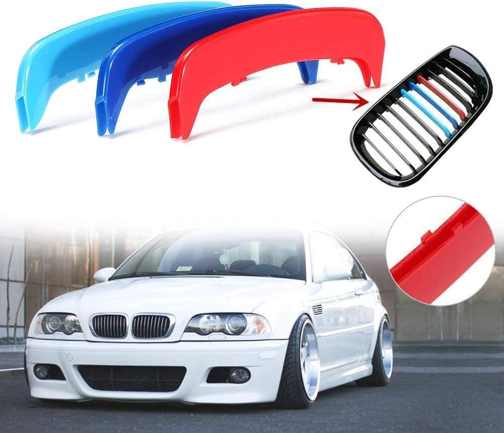 housesweet M Farbe einf/ügen Trim 3D K/ühlergrill Abdeckung Clip Streifen Motor Sports Grill Abdeckung Aufkleber Dekoration f/ür BMW E46 2002-2004