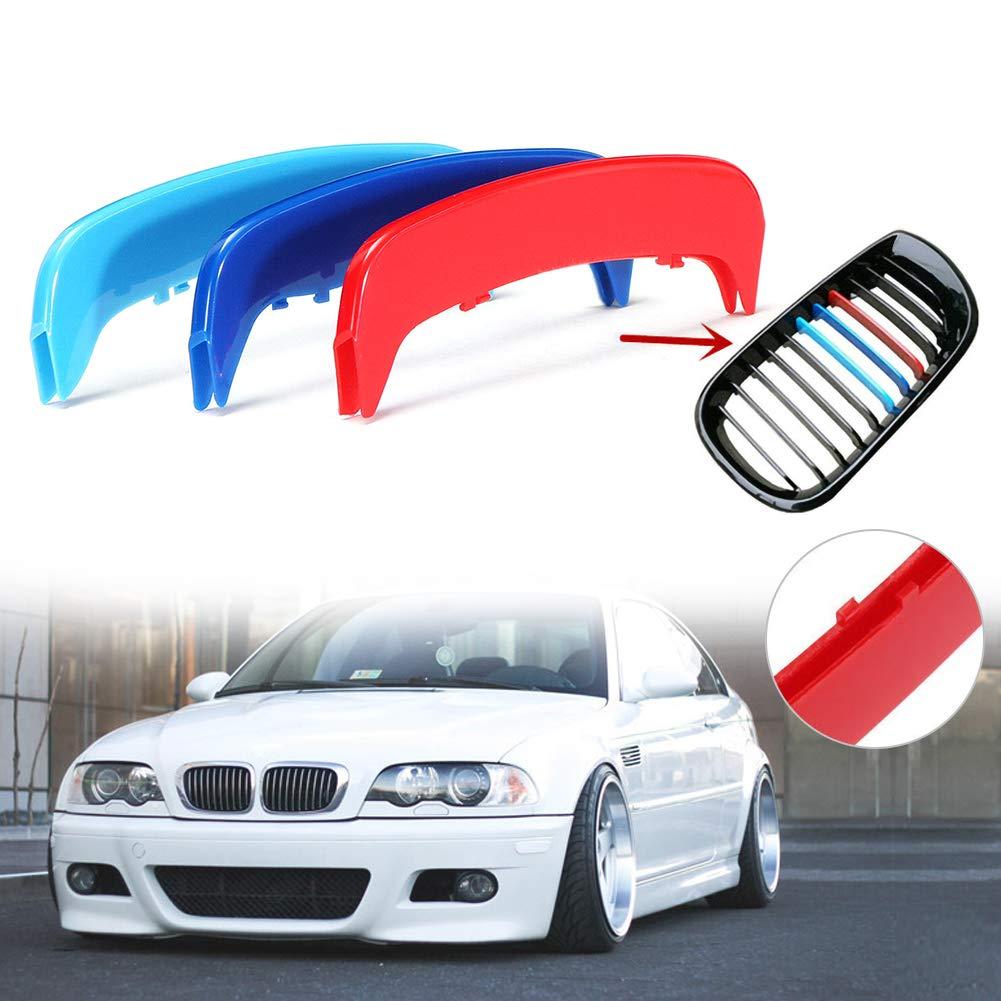 Mioloe M Color Insert Trim 3D Frente Rejilla Cubierta Clip Tiras Motor Sports Grill Cubierta Pegatinas Decoraci/ón para BMW E46 2002-2004