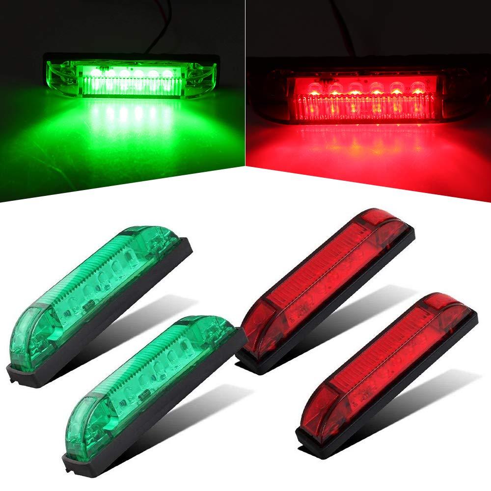 4' Boat Bow Navigation Light 6 LED Red & Green Marine Utility Strip Bar Waterproof Side Marker Lights for Boat RV Trailer, 4-Pack(2Green + 2Red) PUENGSI