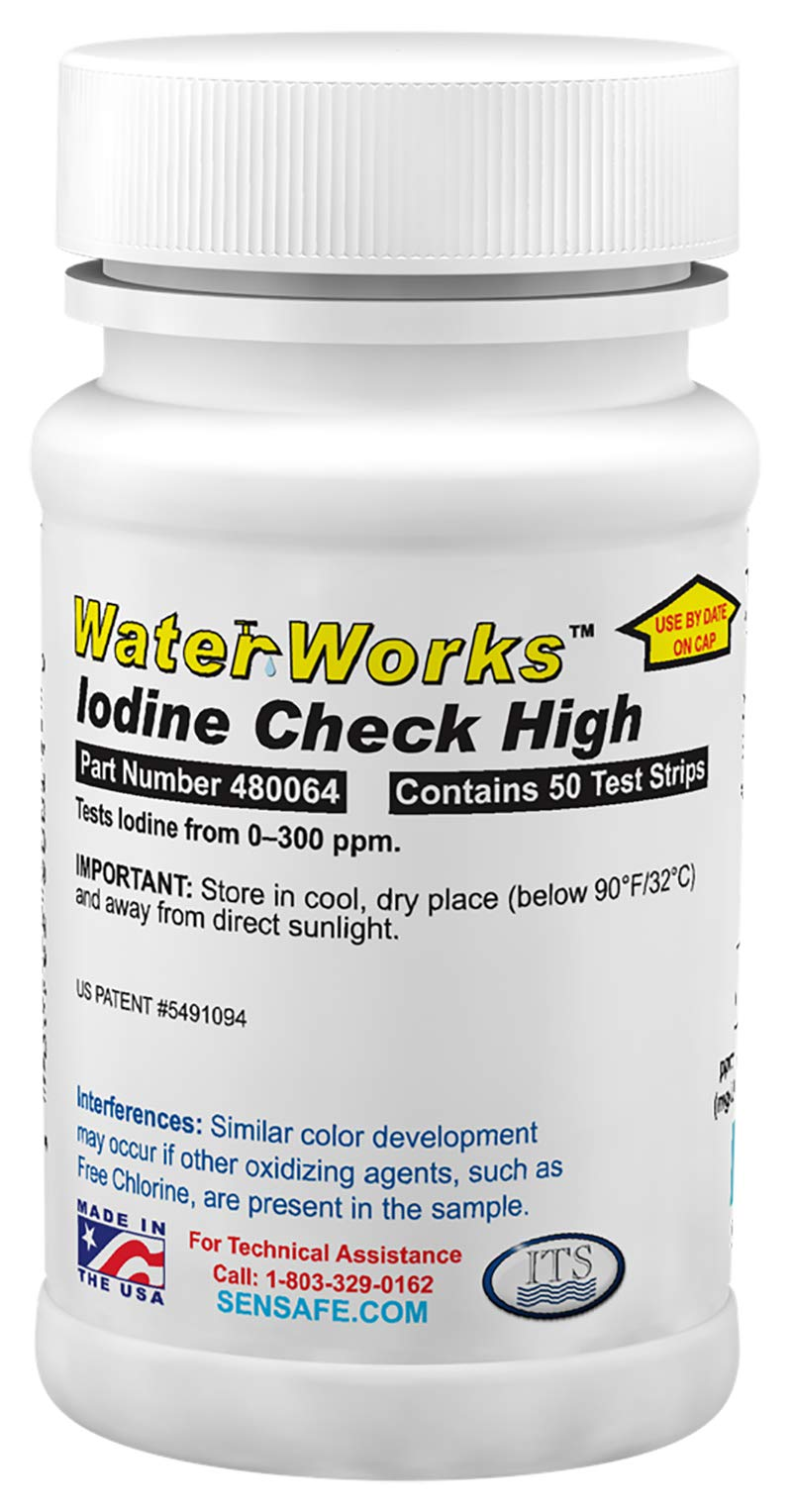 Industrial Test Systems WaterWorks 480064 Iodine Test Strip, 32 Second Test Time, 0-300ppm Range (Bottle of 50) by Industrial Test Systems