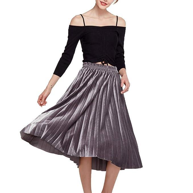 LEERYAAY Falda Plisada de Terciopelo de Cintura Alta para Mujer ...