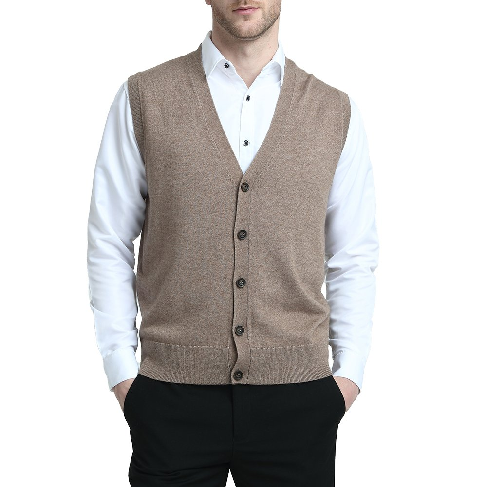 Kallspin Relaxed Fit Mens V-Neck Vest Sweater Cashmere Wool Blend Front Button (Coffee, XL)