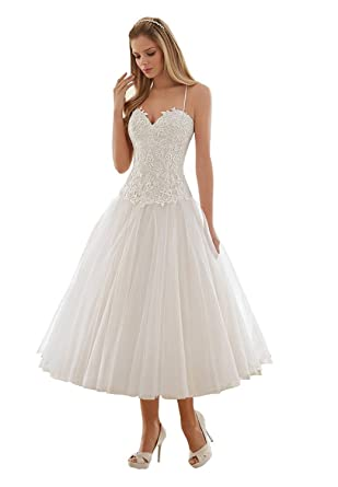 Spaghetti Strap Tea Length Wedding Dresses