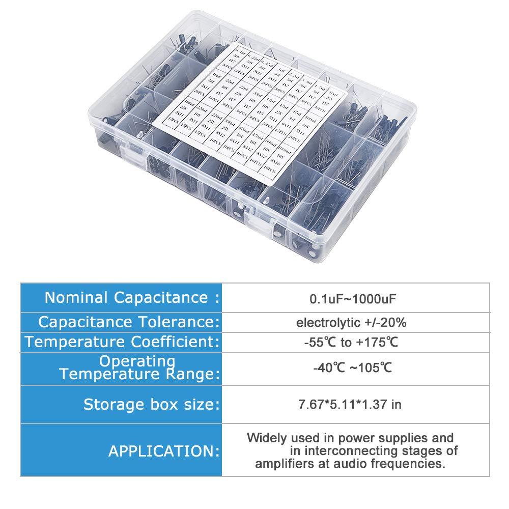 LCD Monitor Game 0.1uF - 1000uF SHINESTAR 500pcs 24 Values Electrolytic Capacitor Assortment Kit Stereo ,10V//16V//25V//50V Aluminum Radial Leads Electrolytic Capacitors for TV Radio