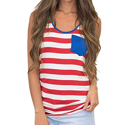 FENZL Women Sleeveless Red Striped Printed Vest Top Blouse Tank Tops T-Shirt  (S