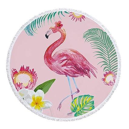 f4974cf4e85c6 eazyhurry Microfiber Thick Large Round Beach Towel Blanket with Tassels  Pink Flamingo White Plumeria Rubra Print