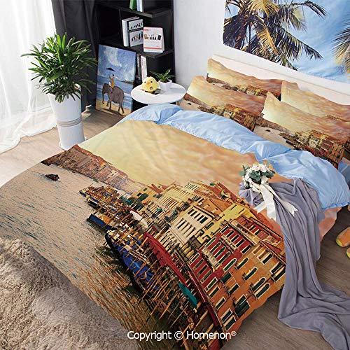 (Homenon Bedding Sheets Set 3-Piece Bed Set,Venezia Italian Decor Landscape with Old Houses Gondollas and Spikes Image,Queen Size,100% Microfiber Super Soft,Breathable,Multicolor)