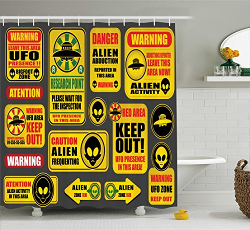 Lunarable Outer Space Shower Curtain, Warning Ufo Signs with Alien Faces Heads Galactic Theme Paranormal Activity Design, Fabric Bathroom Decor Set with Hooks, 105 Inches Extra Wide, Yellow by Lunarable