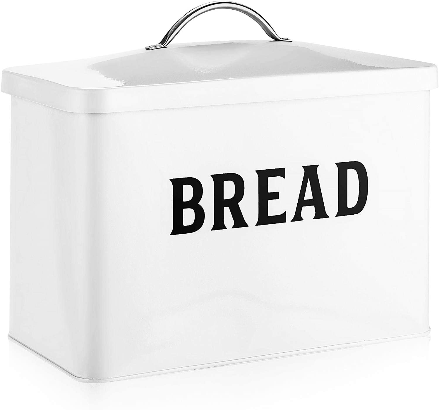 Metal Bread Box - Modern Farmhouse Style Bread Tin - White with Black Letters Storage Holder - Holds 2+ Loaves Extra Large Vintage Bread Container