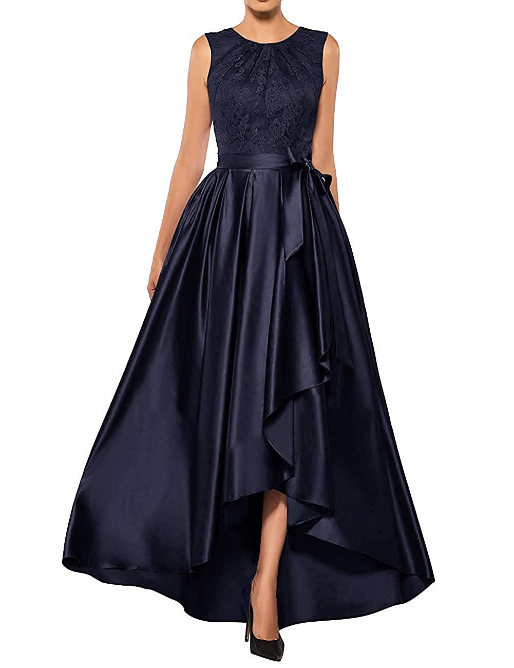 Navy bluee JINGDRESS Satin Mother of The Bride Dresses High Low Formal Evening Party Gowns for Wedding