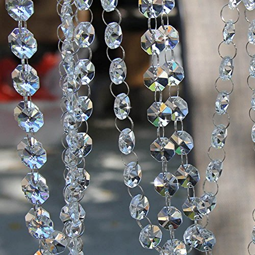 10 Feet Crystal Beads Chain Garland of Clear Chandelier Bead Lamp Chain (Bead Garland Glass)