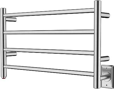 HEATGENE Towel Warmer 4 Bar Towel Dryer Wall-Mounted Plug-in Bath Towel Heater - Brushed