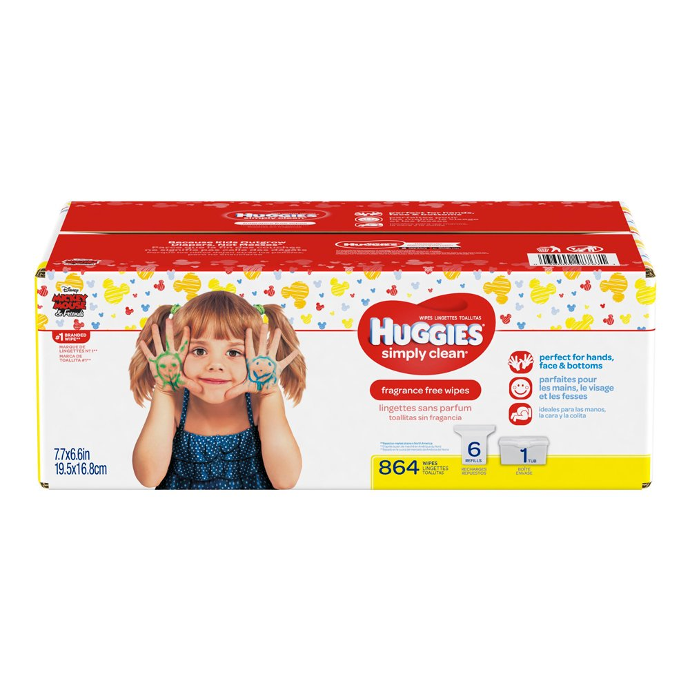 Huggies Simply Clean Fragrance-free Baby Wipes, Refill Pack 6 Pack, 864 Count Kimberly Clark