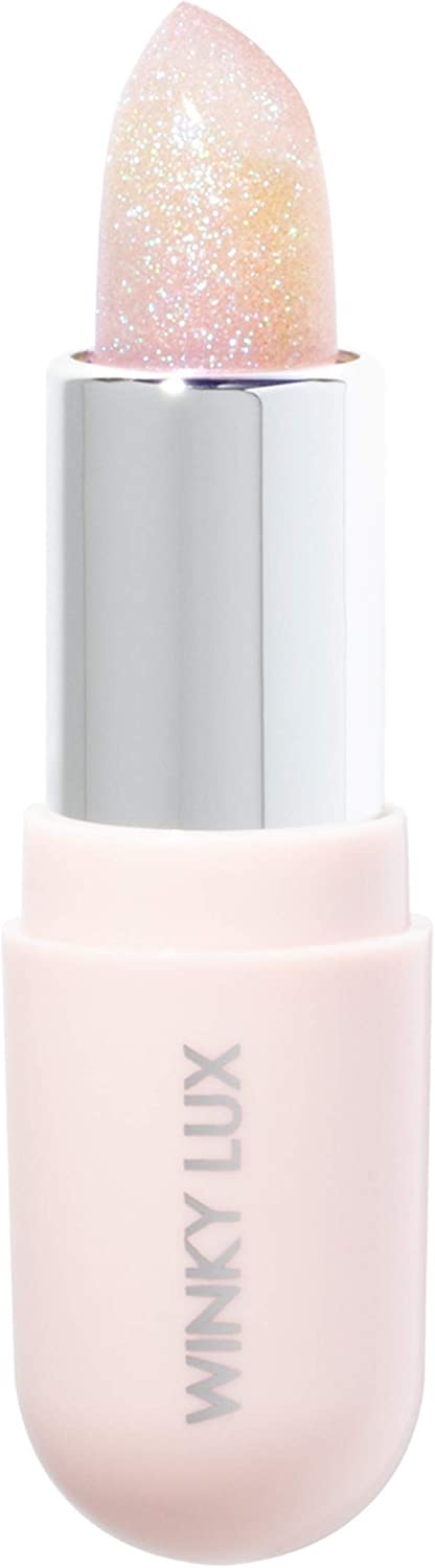 Winky Lux Glimmer Balm, Color-Changing Pink Tinted pH Lip Balm Infused with Vitamin E for All-Day Moisture and Subtle Glittery Gloss, 0.13 Oz, Unicorn
