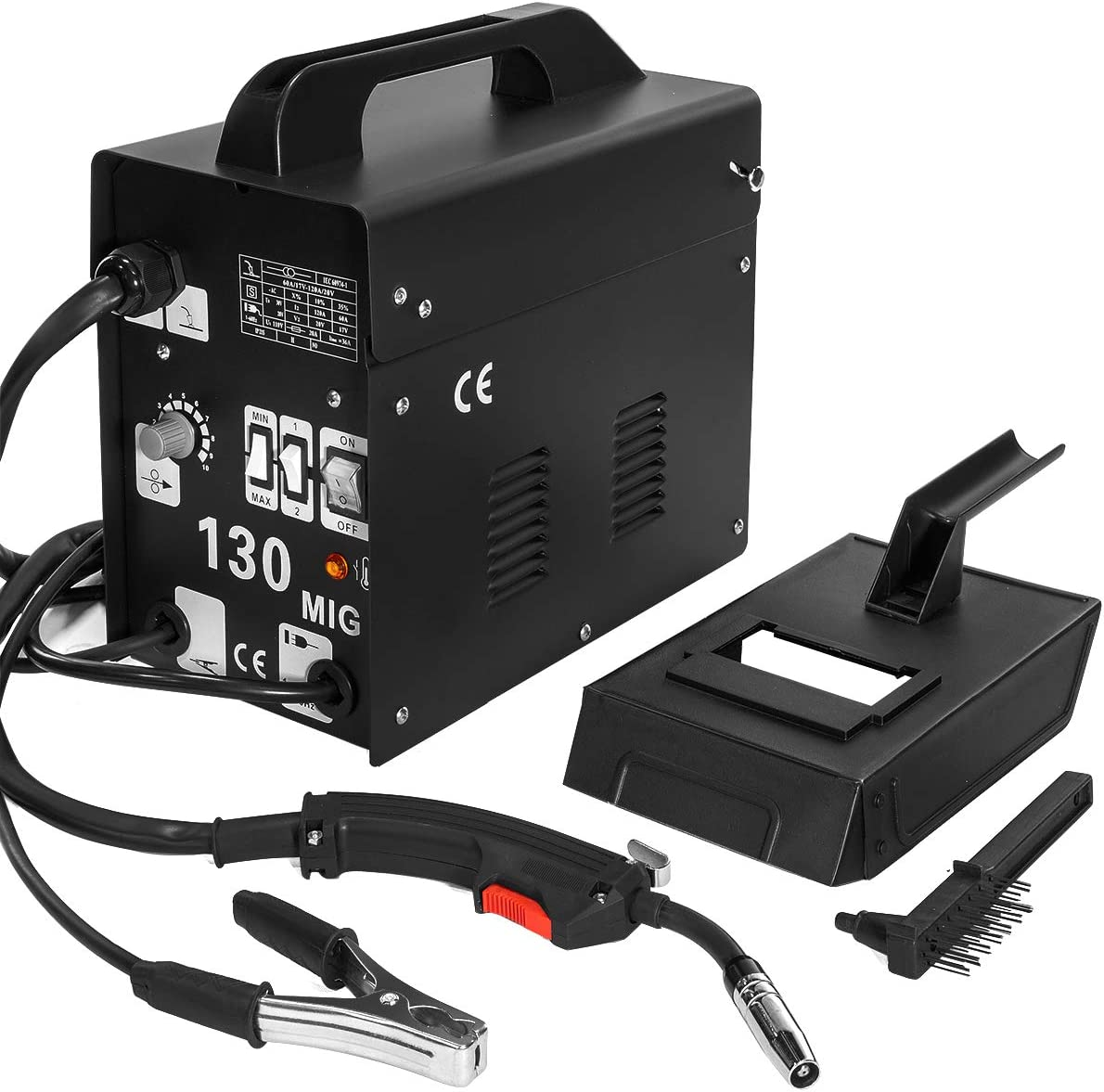 XtremepowerUS MIG 130 Welder Flux Core Wire Automatic Feed Welding Machine AC Core Welding Wire w//Face Mask Kit 110v