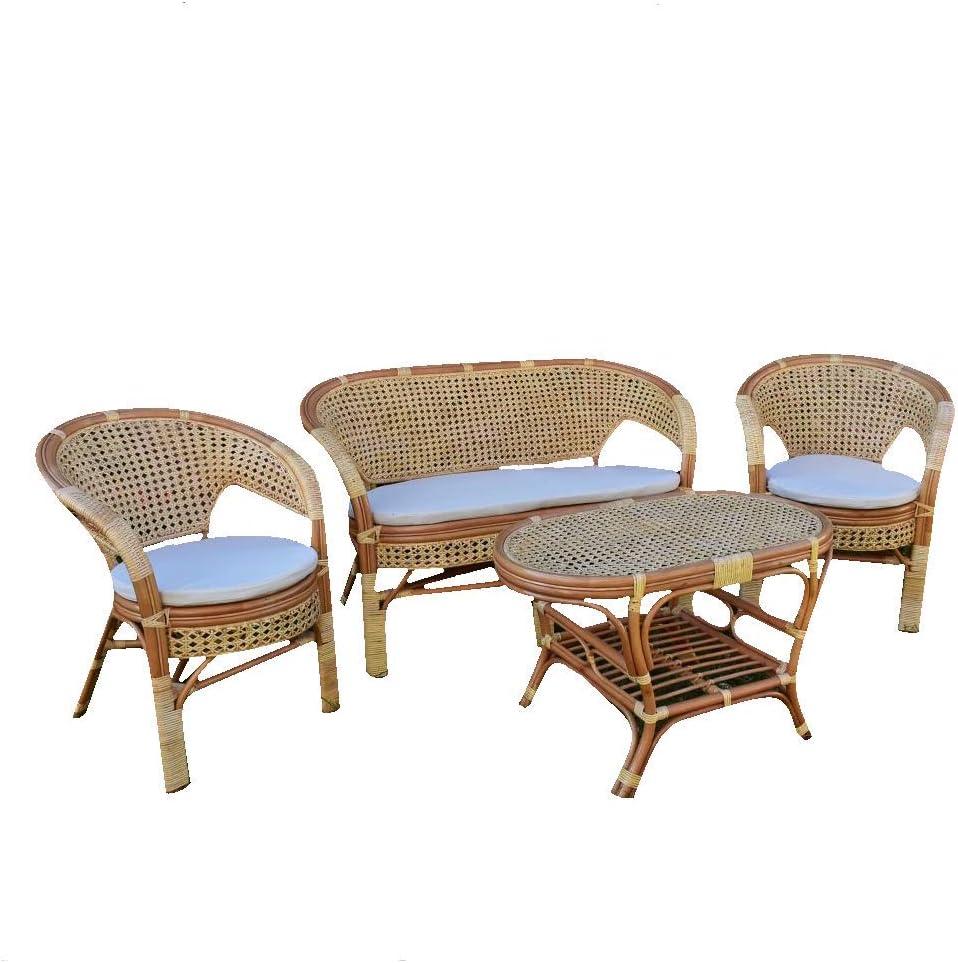Salotto Amanda con 1 Divanetto 2 poltrone 1 Tavolino in Vimini Intrecciato con Paglia di Vienna con Cuscini in Omaggio