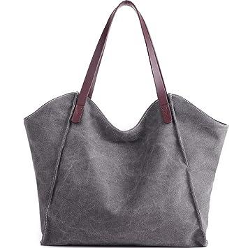 b8eaab73ca5f7 JuguHoovi Damen Handtasche Canvas Schultertasche Umhängetasche Damen  Shopper Tasche für Mädchen Schule Frauen Shopper