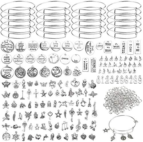 UPINS 496Pcs Expandable Bangles Bracelet Making Kit, 30Pcs Silver Blank Bracelets, 166Pcs Assorted Tibetan Silver Charms, 300Pcs Jump Rings for DIY Jewelry Making Crafts