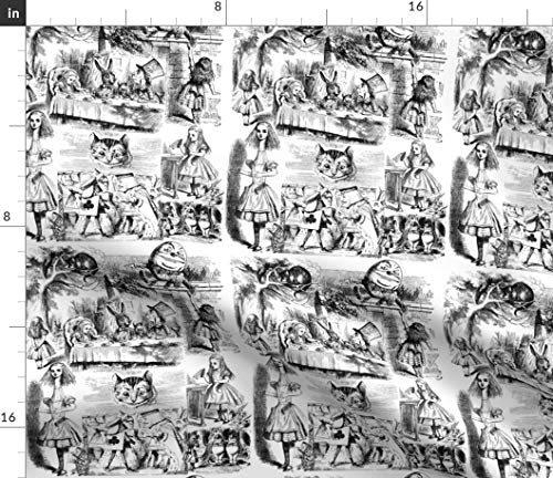Spoonflower Alice Fabric - Wonderland Toile Tea Tenniel Black and White Lewis Carroll Print on Fabric by The Yard - Denim for Sewing Bottomweight Apparel Home Decor Upholstery
