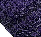 Vintage Saree Pure Silk Printed Elephant Human Antique Craft Sari Purple
