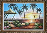 Framed Oil Painting 24''x36'' Hawaii Straw Patio Sunset Palm Tree Beach Reflection Seascape America Naturalism Ornate Frame