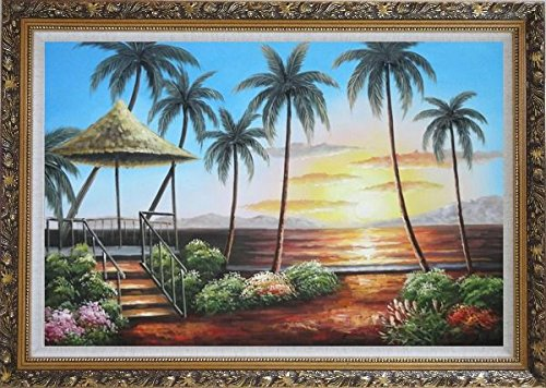 Framed Oil Painting 24''x36'' Hawaii Straw Patio Sunset Palm Tree Beach Reflection Seascape America Naturalism Ornate Frame by BeyondDream