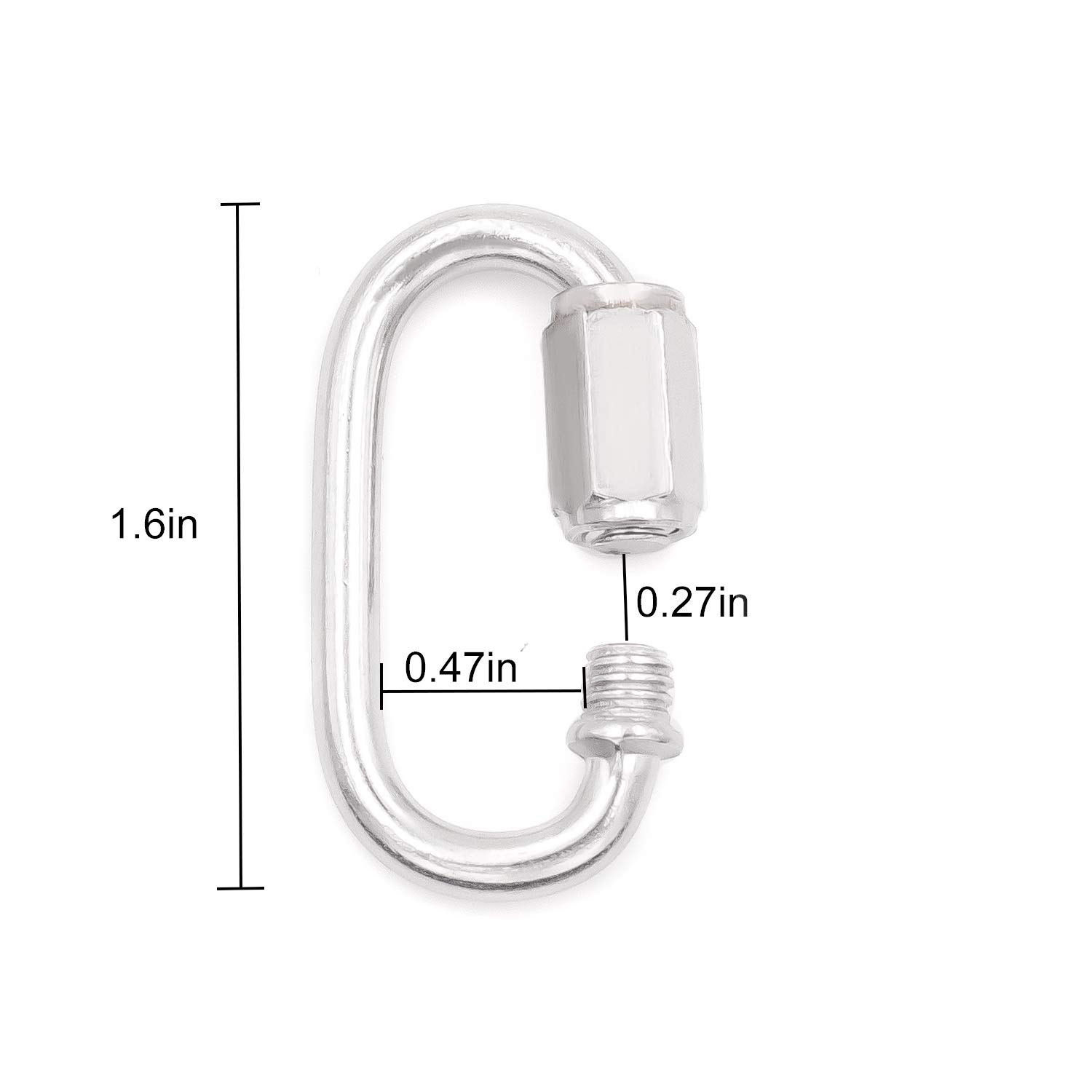 Max. Load 500 Lb Heavy Duty D Shape Locking Looks for Carabiner Camping and Outdoor Equipment 24 Pack Quick Link M4 4mm 5//32 approximate 1//8 Stainless Steel Chain Connector by KINJOEK Hammock