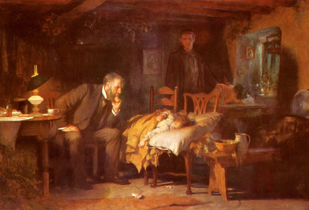 Fildes Samuel Luke The Doctor 100% Hand Painted Oil Paintings Reproductions 20X28 Inch