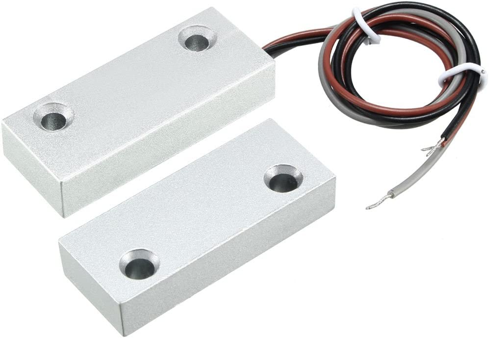 uxcell Rolling Door Contact Magnetic Reed Switch Alarm with 3 Wires for N.O./N.C. Applications MC-52