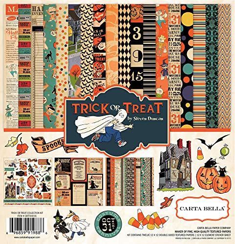 Halloween Scrapbooking Paper (Echo Park - Trick or Treat Halloween 12x12 Scrapbooking Kit - Item CBTT44016TM - Features Halloween Costumes, Haunted Houses, Pumpkins, Black Cats, Bats, Trees, Candy, Leaves, Witches, and)